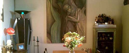 Art from the past: one of my old paintings in my brother's dining room…